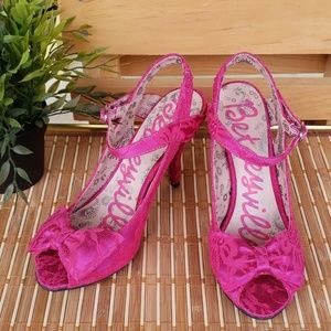 Betseyville Bright Pink Lace Heels